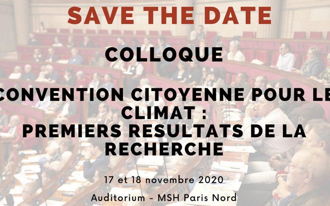 Colloque «Convention Citoyenne pour le Climat : premiers résultats de la recherche»