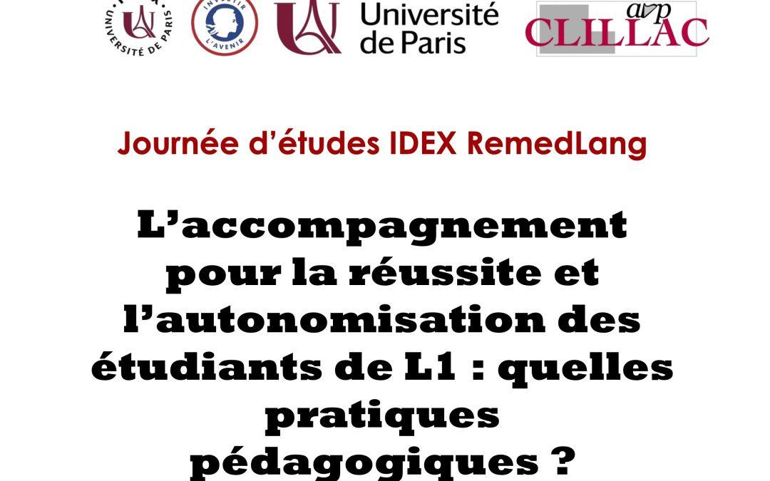 Journée d'études «L'accompagnement pour la réussite des étudiants de L1 : quelles pratiques pédagogiques ?» 8 octobre 2021